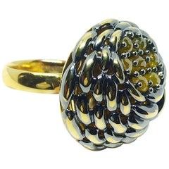 One of a Kind Yellow Rose Cut Diamond 18 Karat Yellow Gold Ring