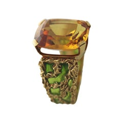 One of a Kind Yellow Topaz and Plique a Jour Enamel Yellow Gold Ring