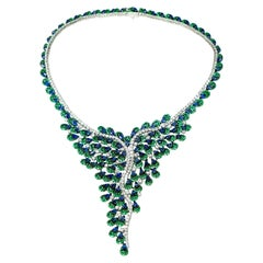 One of a Kind Yvel Sapphire Tsavorite Diamond Necklace from the Peacock Coll