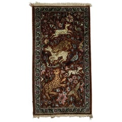 One of a King Small Vintage Kashmir Silk Hand Knotted Rug