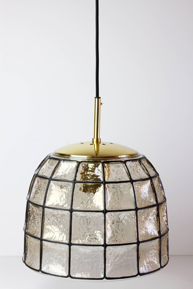 Mid-Century Modern One of a Pair 1960s Black Iron & Glass Honeycomb Bell Pendant Lights by Limburg For Sale