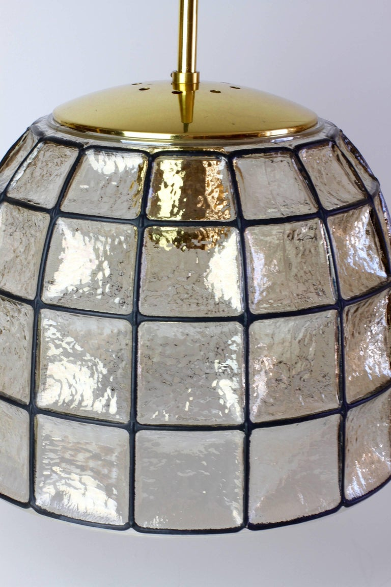 German One of a Pair 1960s Black Iron & Glass Honeycomb Bell Pendant Lights by Limburg For Sale