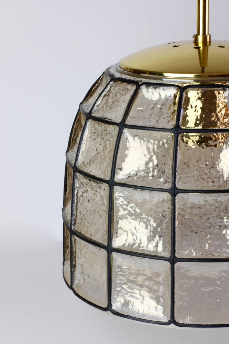 Molded One of a Pair 1960s Black Iron & Glass Honeycomb Bell Pendant Lights by Limburg For Sale