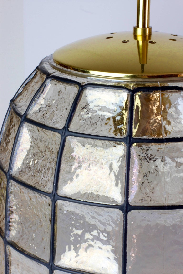 One of a Pair 1960s Black Iron & Glass Honeycomb Bell Pendant Lights by Limburg In Good Condition For Sale In Landau an der Isar, Bayern