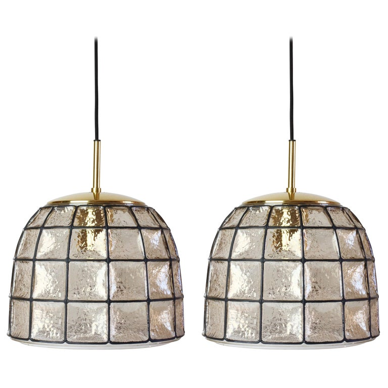 One of a Pair 1960s Black Iron & Glass Honeycomb Bell Pendant Lights by Limburg For Sale