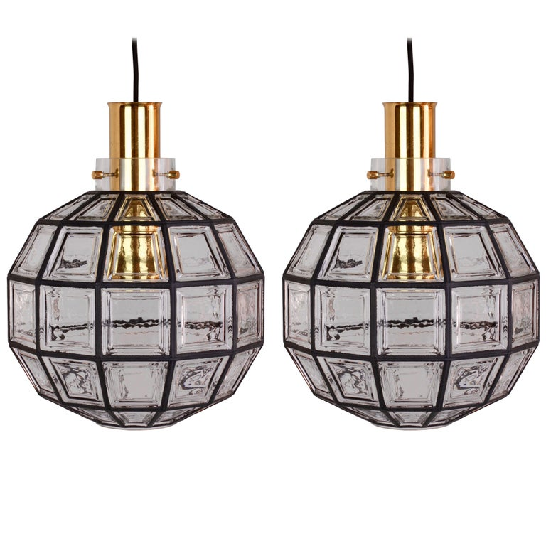 Large Iron and Clear Glass Round Pendant Lights by Limburg ...