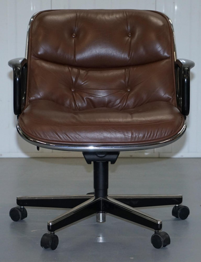 Modern One of Eight Original Knoll Pollock Vintage Brown Leather Executive Armchairs For Sale