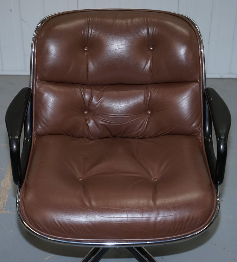 Hand-Crafted One of Eight Original Knoll Pollock Vintage Brown Leather Executive Armchairs For Sale