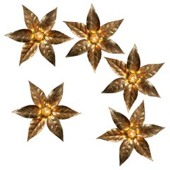 One of Eight Willy Daro Style Brass Flowers Wall Lights, 1970s