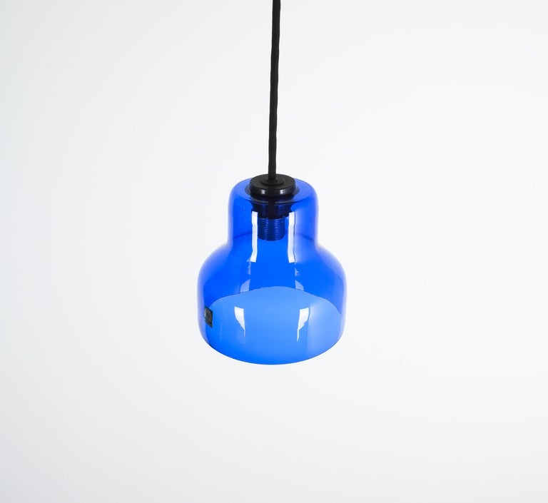 Italian One of Five Blue Murano Glass Pendant Lamps, circa 1980 For Sale