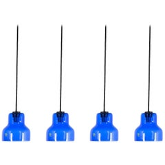 One of Five Blue Murano Glass Pendant Lamps, circa 1980