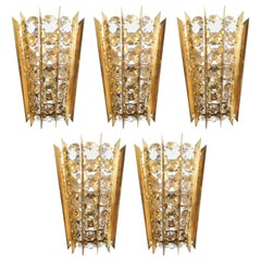 One of Five Crystal and Brass Sconces by Bakalowits & Sohne, Austria, circa 1955