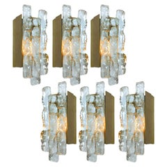 One of Five Kalmar Ice Glass Wall Sconces by J.T. Kalmar, Austria, 1970s