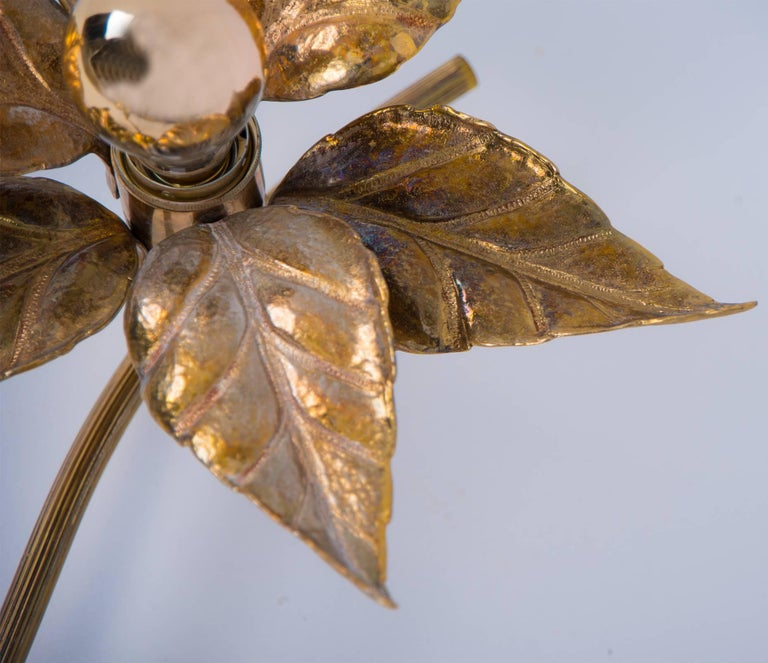 One of Five of Willy Daro Style Brass Flowers Wall Lights For Sale 5