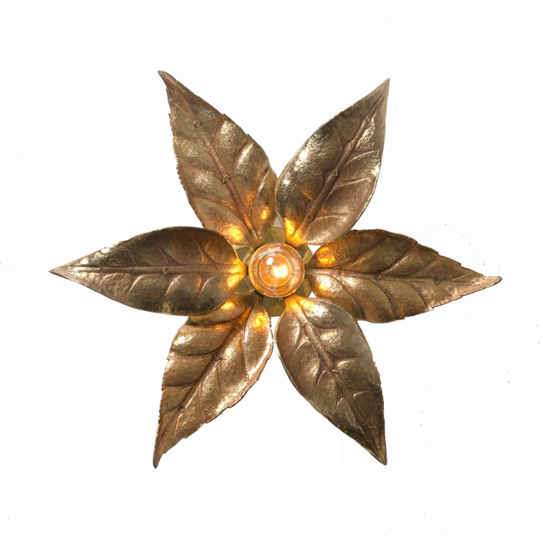 One of Five of Willy Daro Style Brass Flowers Wall Lights For Sale 7