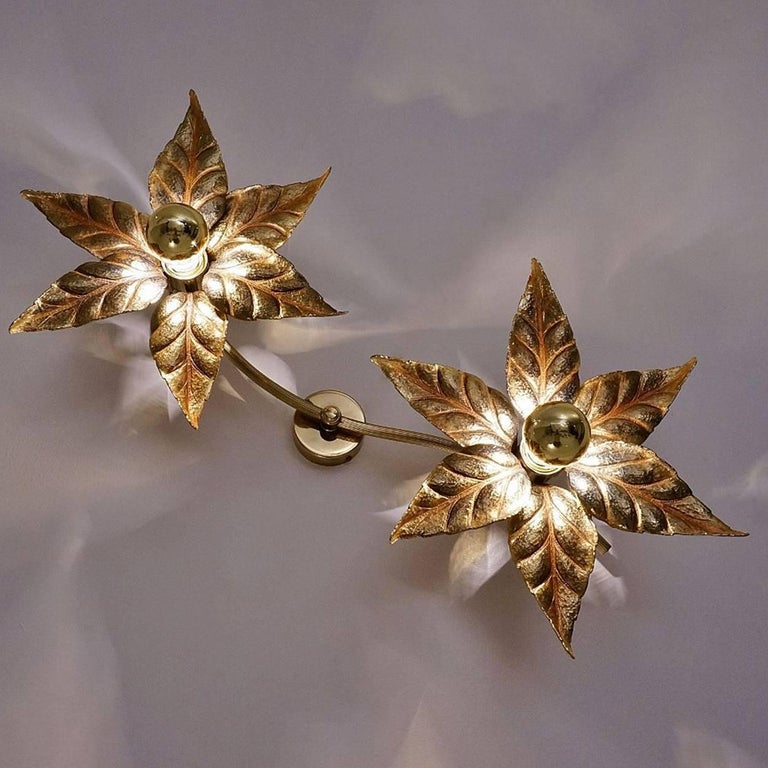 One of Five of Willy Daro Style Brass Flowers Wall Lights For Sale 8