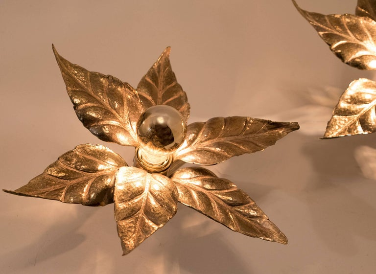 One of Five of Willy Daro Style Brass Flowers Wall Lights For Sale 1