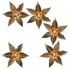 One of Five of Willy Daro Style Brass Flowers Wall Lights