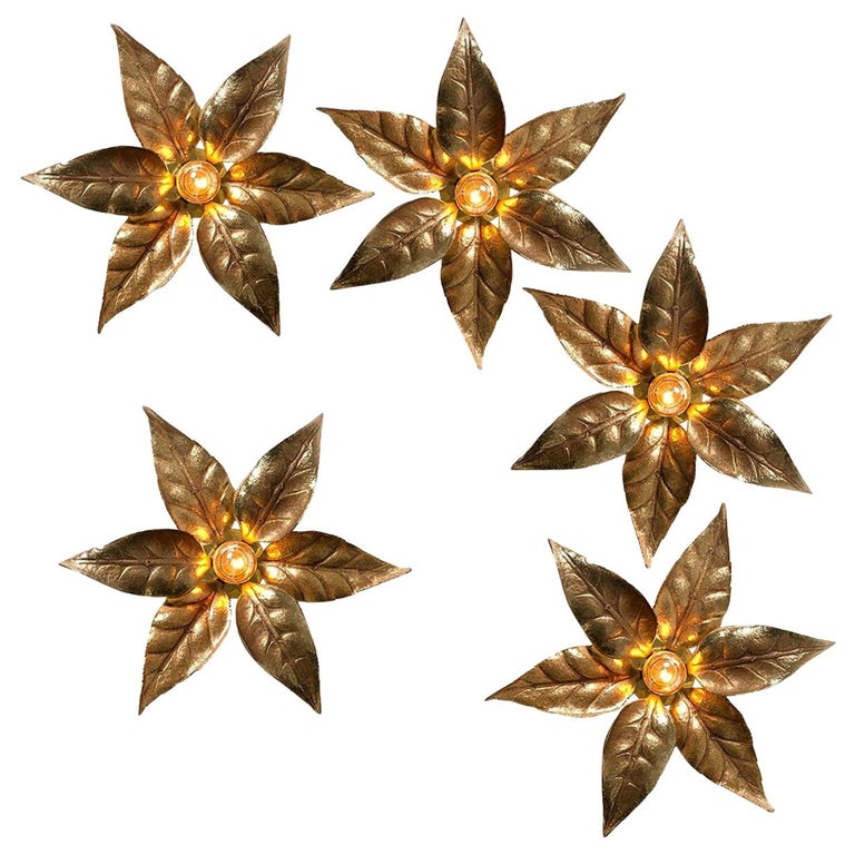 One of Five of Willy Daro Style Brass Flowers Wall Lights For Sale