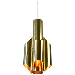 One of Five RAAK Style Vintage Midcentury Brass Pendant Light Lamp Fixtures