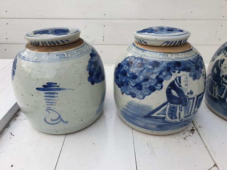 One of Four Chinese Porcelain Glazed Figural Ginger Jars with Lids, 19th Century For Sale 7