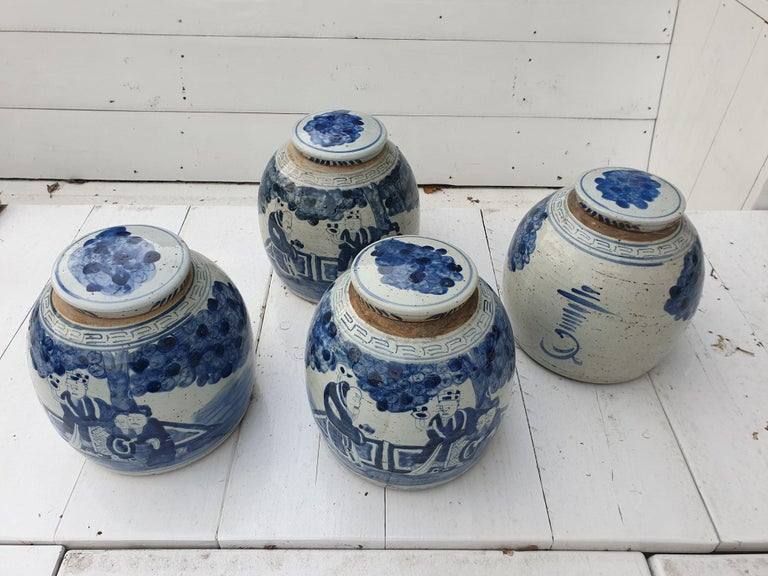 One of Four Chinese Porcelain Glazed Figural Ginger Jars with Lids, 19th Century For Sale 10