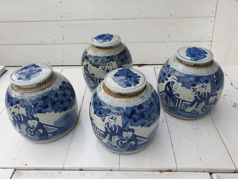 One of Four Chinese Porcelain Glazed Figural Ginger Jars with Lids, 19th Century For Sale 11