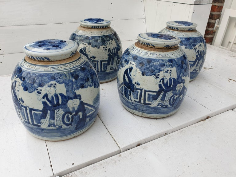 One of Four Chinese Porcelain Glazed Figural Ginger Jars with Lids, 19th Century In Good Condition For Sale In Antwerp, BE