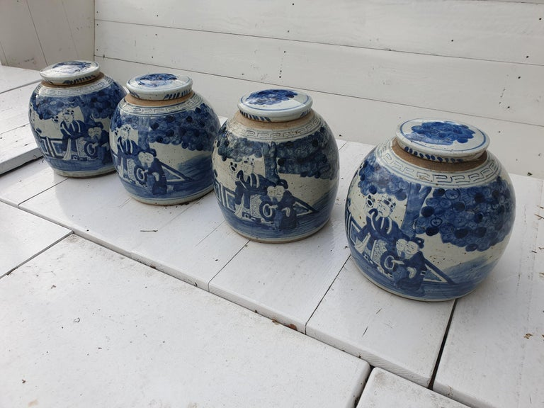 One of Four Chinese Porcelain Glazed Figural Ginger Jars with Lids, 19th Century For Sale 5