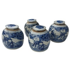 One of Four Chinese Porcelain Glazed Figural Ginger Jars with Lids, 19th Century