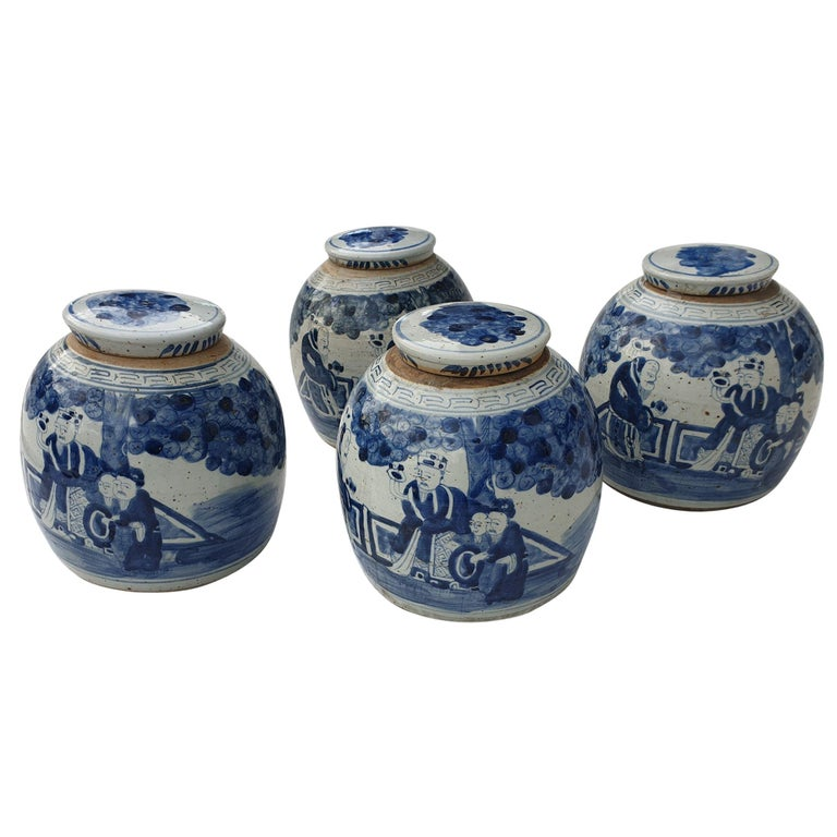 One of Four Chinese Porcelain Glazed Figural Ginger Jars with Lids, 19th Century For Sale