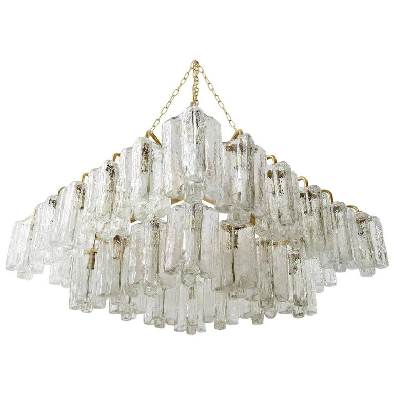 One of Four Huge Kalmar 'Granada' Chandeliers Flush Mount Light Brass Glass 1970 For Sale