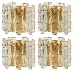 One of Seven Ice Glass Wall Sconces with Brass Tone by J.T. Kalmar, Austria