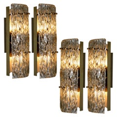 One of Four Large Modern Brass Ice Glass Wall Lights by J. T. Kalmar, 1960s