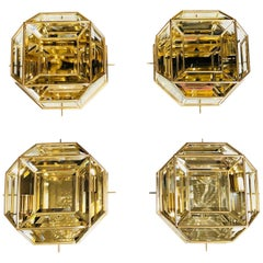 One of Four Mid-Century Modernist Octagonal Flush Mount Brass and Faceted Glass