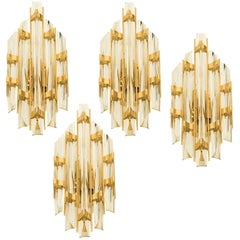 One of Four Venini Style Murano Glass and Brass Sconces, Italy