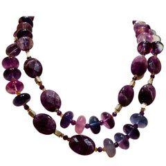 One of Kind Handmade Natural Gemstone Necklace with Amethyst, and Fluorite