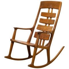 One of Kind Handmade Thomas Saydah Mixed Wood Rocking Chair, circa 1988