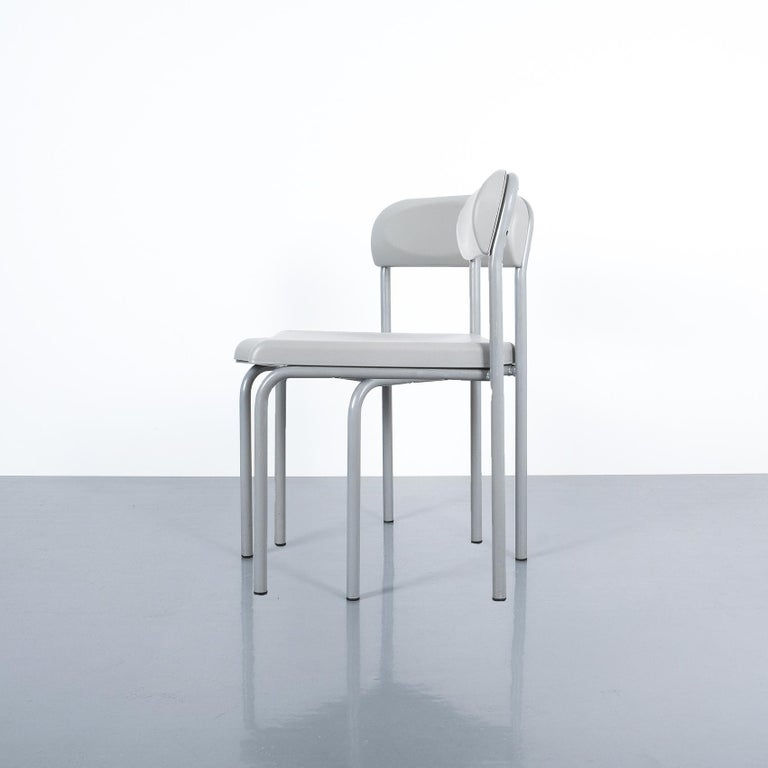 One of Seven Ettore Sottsass Greek Chairs Grey Bieffeplast, Italy, 1980 For Sale 7