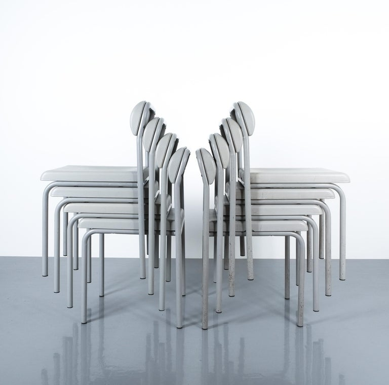 One of Seven Ettore Sottsass Greek Chairs Grey Bieffeplast, Italy, 1980 For Sale 8