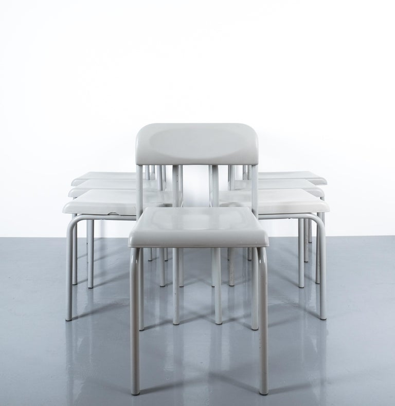 One of Seven Ettore Sottsass Greek Chairs Grey Bieffeplast, Italy, 1980. very rare light grey chairs made from lacquered tubular steel and plastic seat and backrest. They are labeled Bieffeplast. 4 pieces are in very good condition with no issues