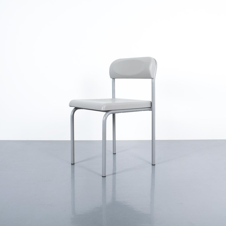 Italian One of Seven Ettore Sottsass Greek Chairs Grey Bieffeplast, Italy, 1980 For Sale