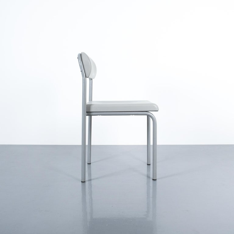 Steel One of Seven Ettore Sottsass Greek Chairs Grey Bieffeplast, Italy, 1980 For Sale