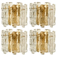 One of Seven Ice Glass Wall Sconces with Brass Tone by J.T. Kalmar, Austria