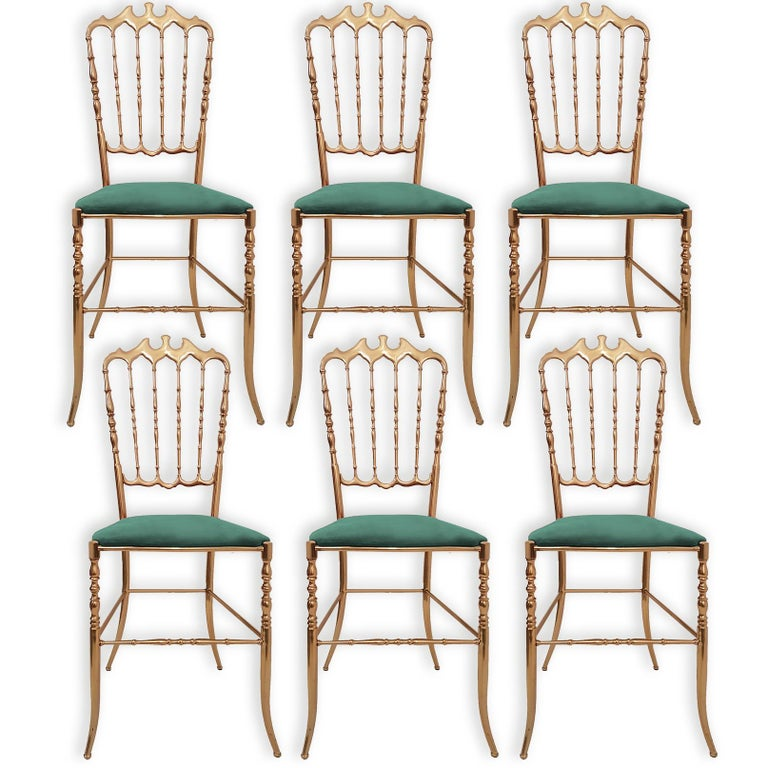 Mid-Century Modern One of Six Italian Brass Chairs by Chiavari, Upholstery Emerald Green Velvet For Sale