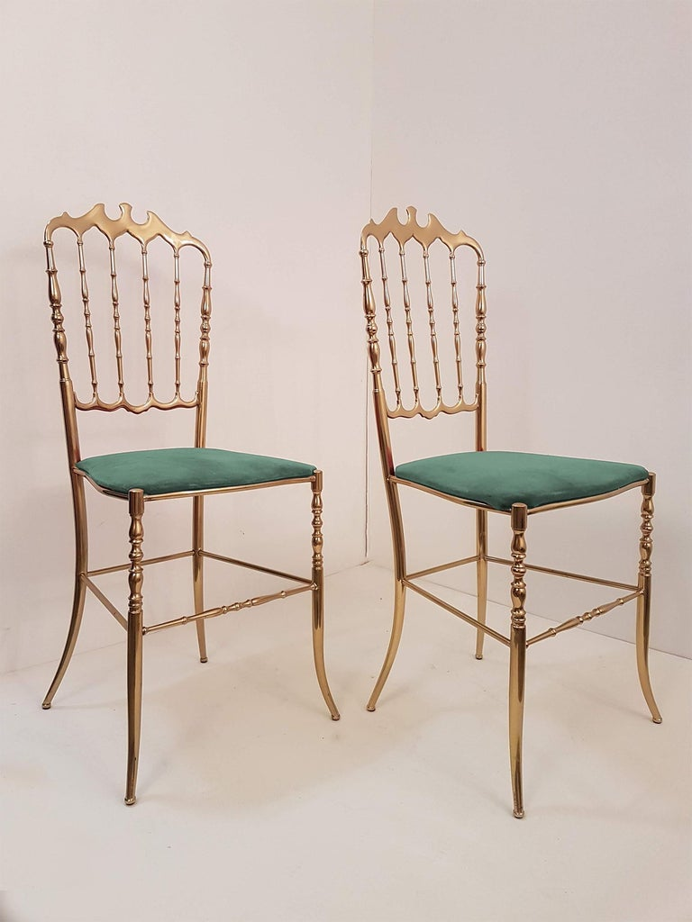 One of Six Italian Brass Chairs by Chiavari, Upholstery Emerald Green Velvet For Sale 2