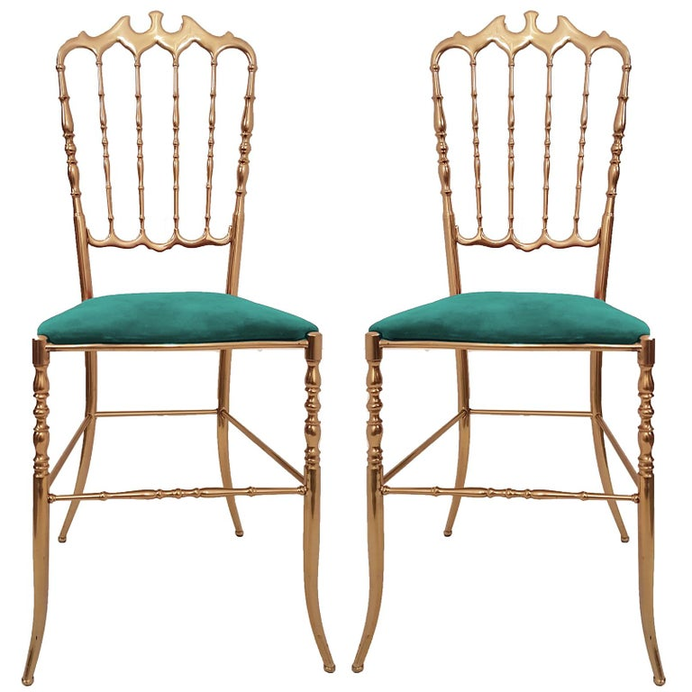 One of Six Italian Brass Chairs by Chiavari, Upholstery Emerald Green Velvet For Sale 3
