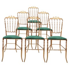One of Six Italian Brass Chairs by Chiavari, Upholstery Emerald Green Velvet