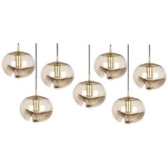 1 of 10 Large Smoked Glass Pendant Light by Peill & Putzler, Germany, 1970s