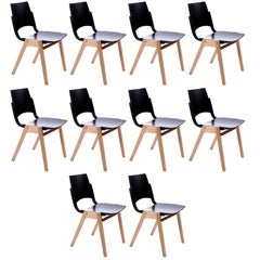 One of Ten Roland Rainer Stacking Chairs P7, Bicolored Beech Black Austria, 1952